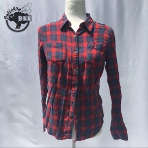 SO 100% cotton blue and red plaid button up medium